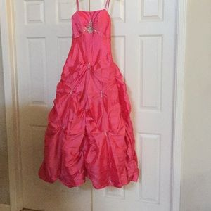 Night Moves coral corset taffeta prom pageant